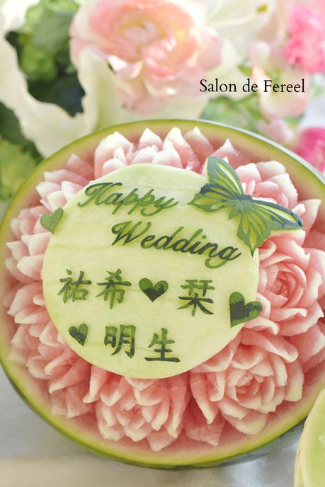 カービング スイカ 彫刻 誕生日 結婚式 メロン フルーツカービング 教室 大阪 薔薇 ソープカービング プレゼント オーダー オリジナル