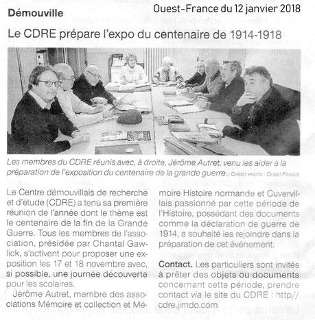 Article Ouest-France du 12 janvier 2018