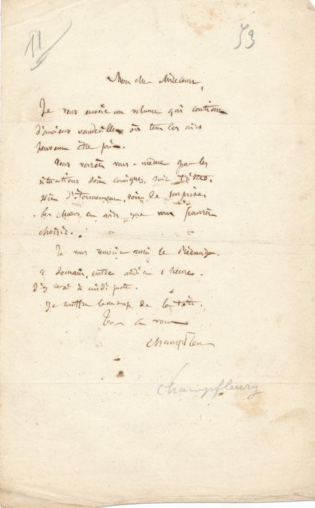 Champfleury lettre autographe signée