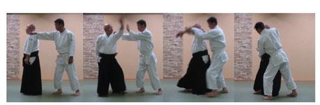 左足を軸として右足を半歩進めて軸足に交代して左半身へ入り身転換・反復して右半身入り身転換まで