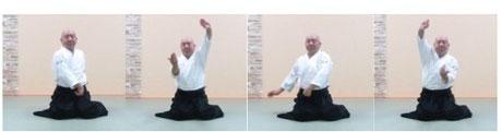 画像③単独呼吸法坐技:両手で氣の巡り