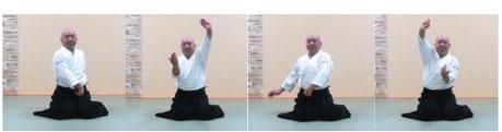 画像①単独呼吸法坐技入り身運動から両手で氣の巡り