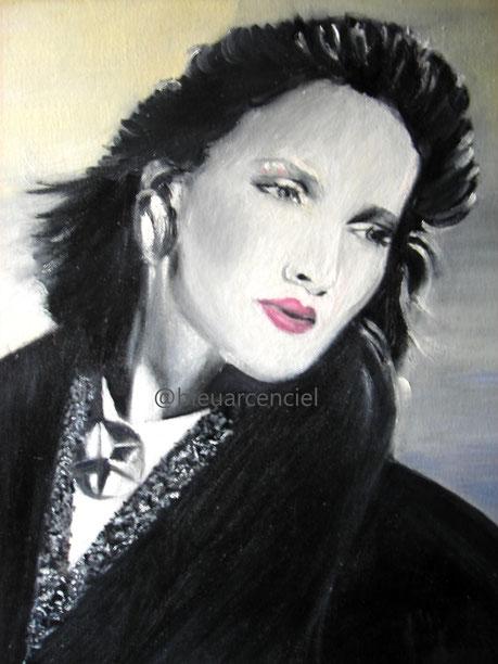 1996 Peinture à l'huile sur toile de coton 38/46 cm, d'après photo et d'après l'auteur