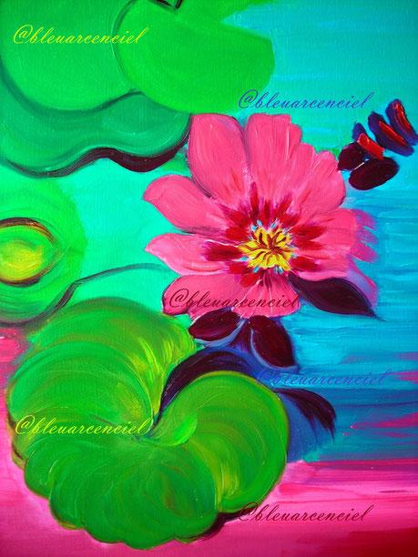 2012 Peinture à l'huile sur toile de lin 38/46 cm, Les feuilles géantes