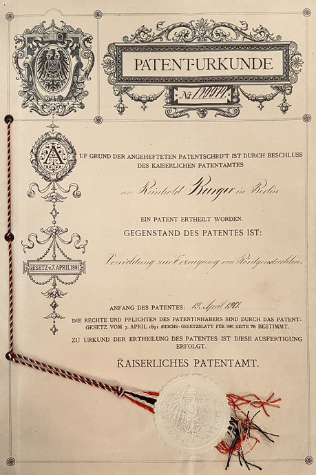 Erfindung einer Röntgenröhre für medizinische Zwecke, Reinhold Burger 1901