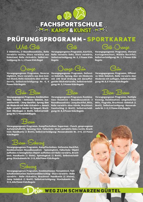 Das Prüfungsprogramm unserer Karate Kurse - stetige Motivation durch Leistung.