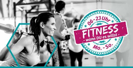 Banner Fitness - in Friesoythe trainiert man bei uns jeden Tag der Woche von 6 bis 23 Uhr