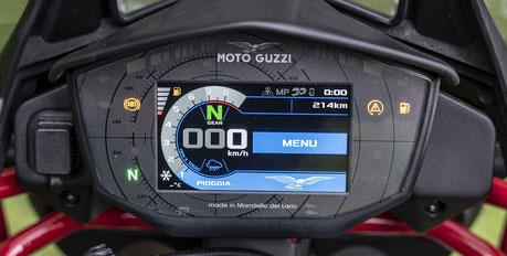 Moto Guzzi V85 TT Cockpit mit TFT-Farbdisplay und MIA