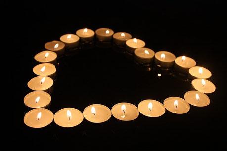 coeur avec bougies