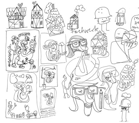 Skizze von Figuren mit Bauhelmen und einer Frau die ein Fachwerkhaus in der Hand hält, Illustration von Frank Schulz Art, Berlin, mit Tusche und Acryl