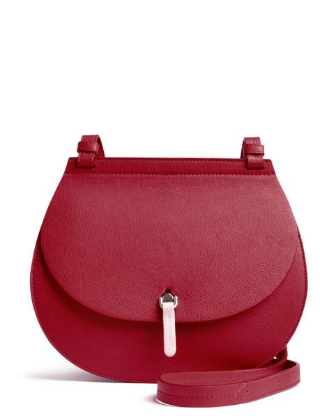 OSTWALD Bags . Finest Couture . Handcrafted Leatherbag . Saddle . Shoulder bag . colour taupe . bordeaux . rosa