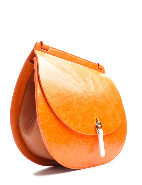 OSTWALD Bags . Finest Couture . Handcrafted Leatherbag . Saddle . Shoulder bag . colour brandy . mandarino . white