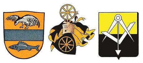 Die Wappen der 3 Grossfamilien des Dorfes, mit Meylan - Rochat (97% der Bevölkerung im XVIII. Jahrhundert) - Mouquin. Die Meylans sind spätestens gegen 1382 im Vallée angekommen, die Rochats 1480 und die Mouquins während der zweiten Hälfte des XVII. Jh.