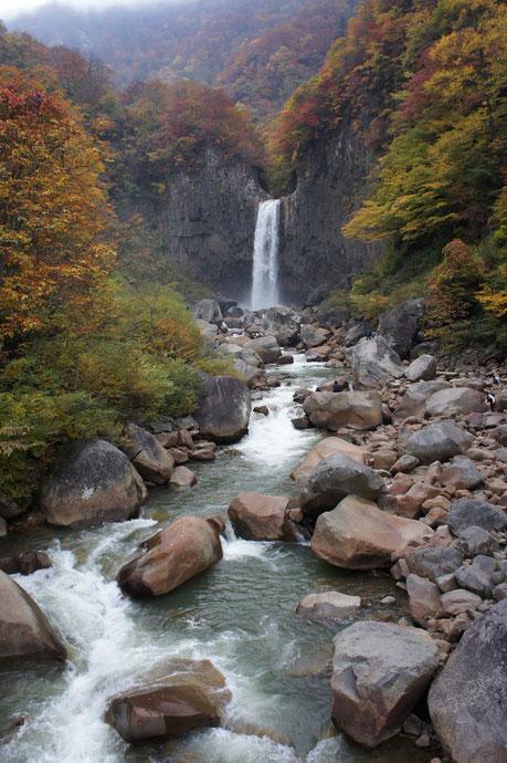 今日の妙高高原「苗名の滝」。紅葉とマイナスイオンに癒されました