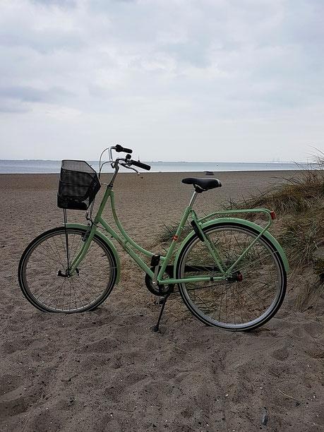 Mit dem Fahrrad an dem Strand von Amager