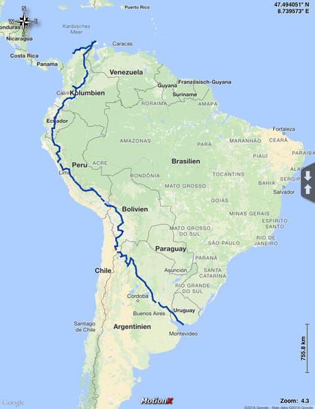 gefahrene Route durch Südamerika: von Cartagena, Kolumbien nach Montevideo, Uruguay