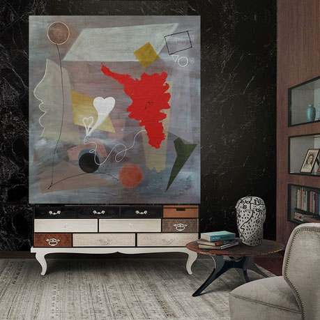 """Rosso relativo """"Relative red"""" 188x170 cm. mixed media on canvas - Exhibition in Liverpool at Riba North (National Architecture Center) from August 20th to 26th with the Amedeo Modigliani Foundation and the Moovartist project"""