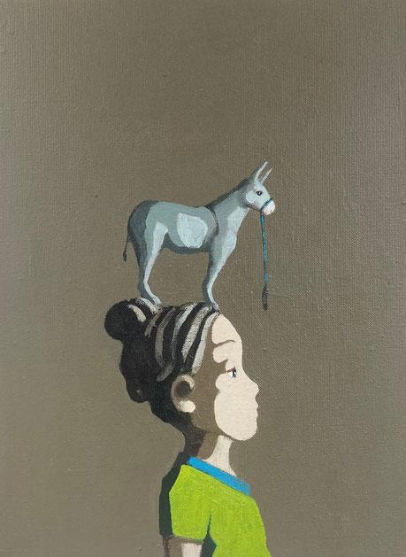 tiny donkey - Acryl auf Leinwand, 40x30cm, 2021