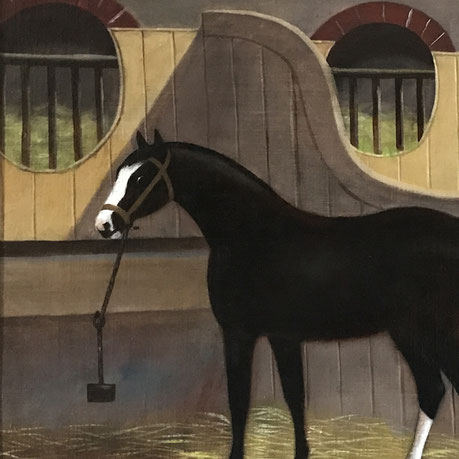 Naive horse in a stable 19th century oil  on canvas