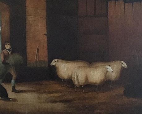 19th century folk art naive school.  Prize sheep in barn