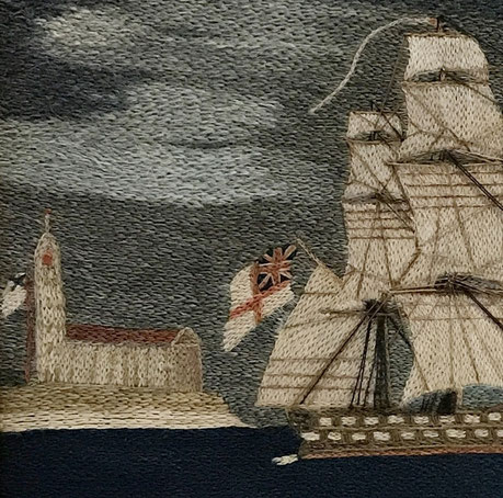 Sailors woolwork or woolie of a three masted frigate 1850