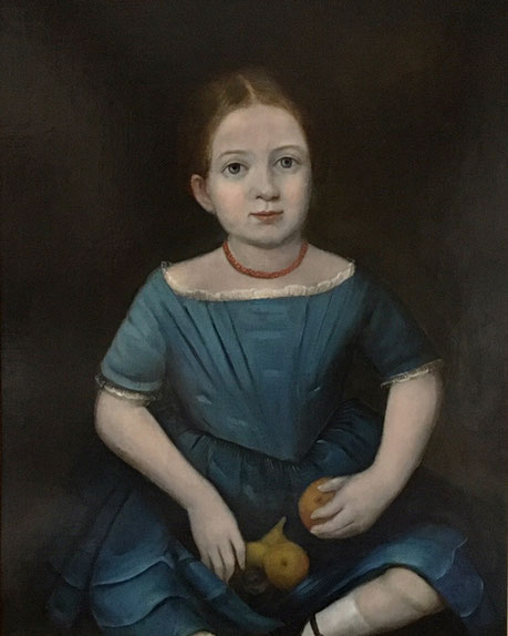 Portrait of a young girl in a blue dress and coral necklace 19th century