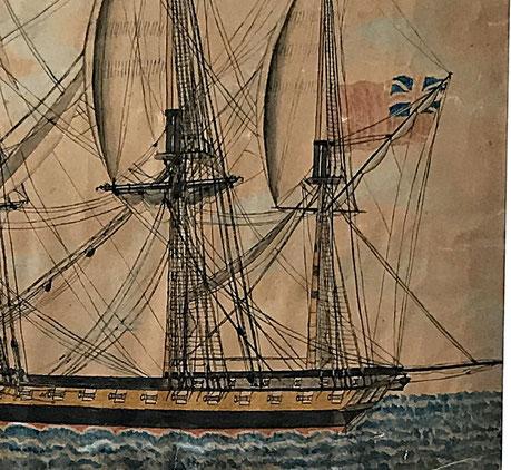 HMS Phaeton of 38 Guns Watercolour