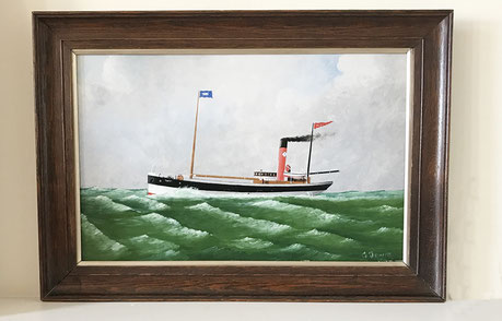 British folk art naive ship on high seas named Taffy