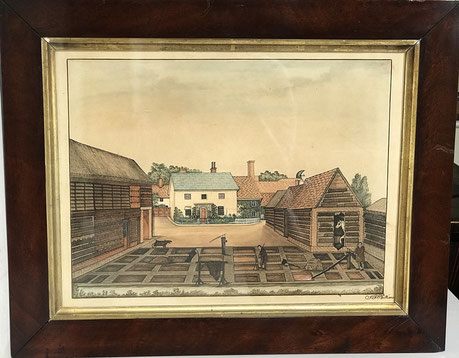 Naive watercolour of a country farmyard with labourers early 19th c