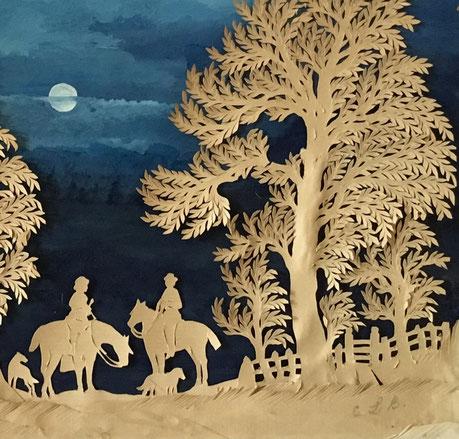 Folk art cut paper picture