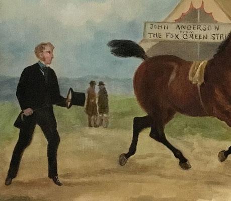 Naive folk art painting of a horse fair late 19th century