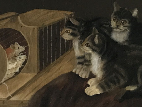 Naive oil on canvas kittens and mice 1909