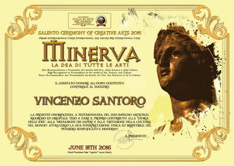 """Il diploma in pergamena dell'Alto Riconoscimento """" Minerva """""""