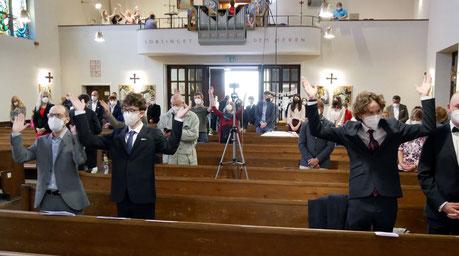Singen in Gottesdiensten ist wieder möglich. Foto von der Firmmesse am 13.Mai (Christi Himmelfahrt).