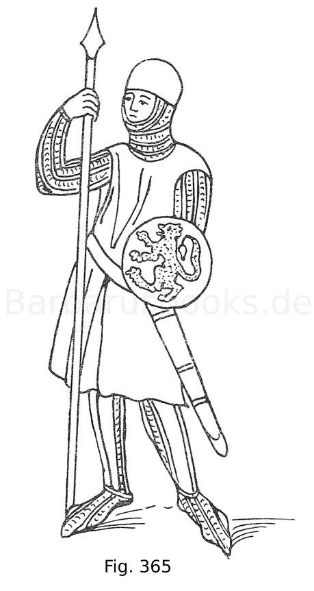 Fig. 365. Spießträger mit Faustschild. Aus einem Manuskript von 1294 in der Nationalbibliothek in Paris. Nach Jacquemin, Ikonographie.