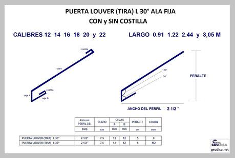 """PUERTA LOUVER L a 30° (TIRA) PARA ARMAR EN PERFILES DE  2 ½"""""""