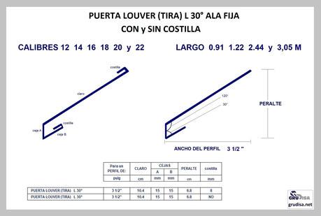 """PUERTA LOUVER L a 30° (TIRA) PARA ARMAR EN PERFILES DE  3 ½"""""""