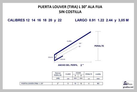 """PUERTA LOUVER L a 30° (TIRA) PARA ARMAR EN PERFILES DE  2"""""""