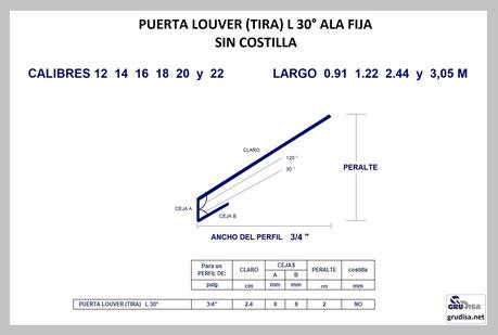 """PUERTA LOUVER L a 30° (TIRA) PARA ARMAR EN PERFILES DE  ¾"""""""