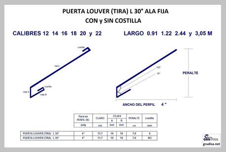 """PUERTA LOUVER L a 30° (TIRA) PARA ARMAR EN PERFILES DE  4"""""""