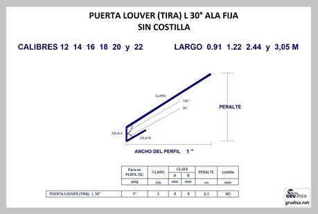 """PUERTA LOUVER L a 30° (TIRA) PARA ARMAR EN PERFILES DE  1"""""""