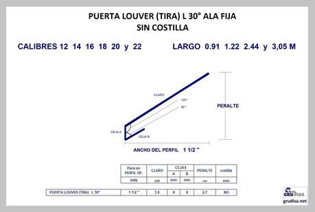 """PUERTA LOUVER L a 30° (TIRA) PARA ARMAR EN PERFILES DE  1 ½"""""""