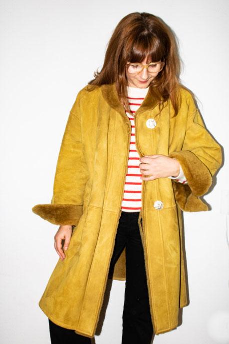 Felicita Vintage - Manteau Yves Saint-Laurent Vintage en peau lainée