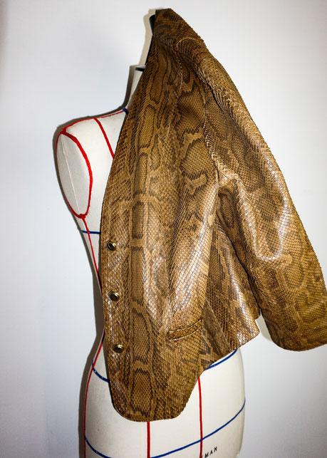 Felicita Vintage - Veste vintage 70's en cuir exotique