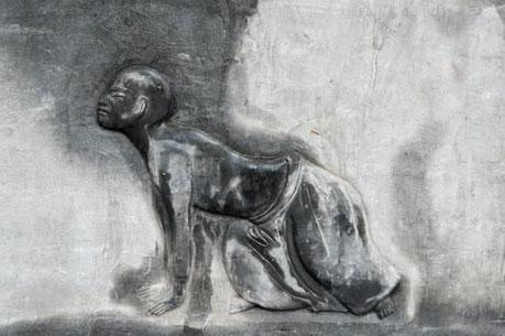 Représentation murale du mouvement du Tigre ramasse sa proie de la série du Renouvellement des Tendons.