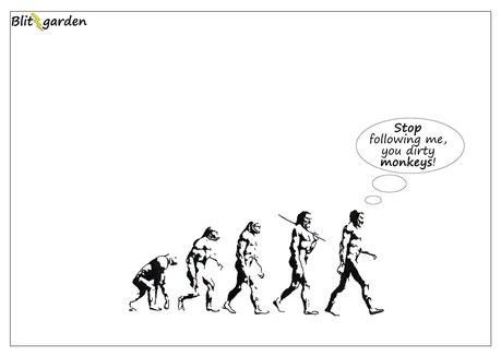 Blitzgarden Cartoon für Menschenkenner-Mkt. Oli Kock: Evolution & Hybris des Menschen