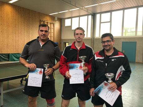 Die besten der A-Gruppe bei den Vereinsmeisterschaften 2018 der SG 03 Mitlechtern v.l.n.r.: Mario Zecic(Dritter), Timo Metz(Vereinsmeister) und Andreas Lautenbach(Zweiter)