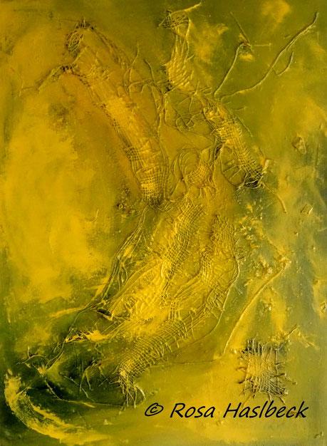 Acrylbild, acryl, collage, gelb, textilien, gelb, bild, malen, malerei, kunst, geko, dekoration, wandbild, abstrakt