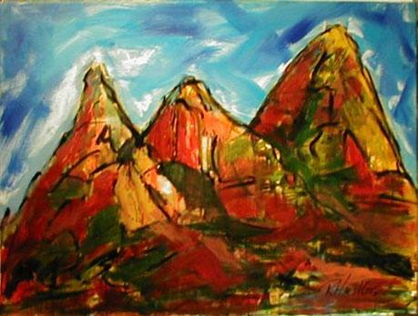 Acrylbild, acryl, gebirge, berge,  orange, rot, blau, grün, bild, malen, malerei, kunst, geko, dekoration, wandbild, abstrakt