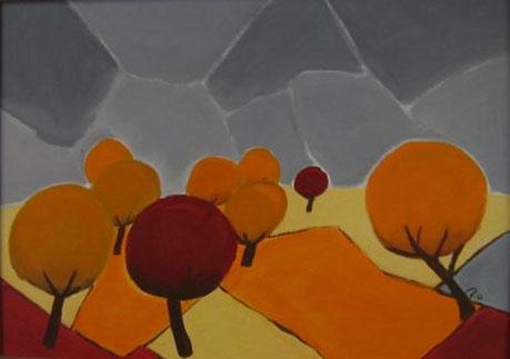 Acrylbild, acryl, herbst, herbststimmung, herbstbild, bäume, natur,  orange, rot, grau, braun, bild, malen, malerei, kunst, geko, dekoration, wandbild, abstrakt